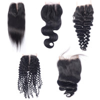 Wholesale human hair mixed synthetics resale online - Peruvian Virgin Human Hair x4 Lace Closures Straight Deep Loose Body Wave Mongolian Kinky Curly Malaysian Indian Brazilian Human Hair