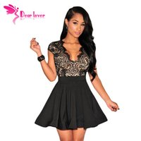 Wholesale Vestidos Verano Mujer - Dear-Lover vestidos mujer verano Black Lace Nude Illusion Key-Hole Back Flared Mini Pleated Dress Women Party Clubwear LC22113 17410