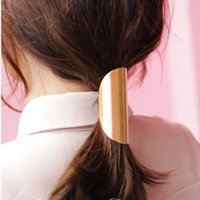 Wholesale Hot Fashion Cuff - 2017 New Arrival Hairbands Trendy Fashion Metal Hair Cuff Band Ties Elastic for Ponytail Holders Accessories for Women Hot Sale
