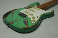 Wholesale Fretboard Inlays - Handmade 1956 Tribute Heavy Relic ST Faded Seafoam Green Electric Guitar Alder Body Vintage Hardware, Maple Neck Black Dot Fretboard Inlay