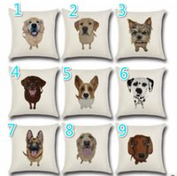 Wholesale Decorative Pop - 18 Types Pug Pop Dog Cushion Cover Decorative Throw Pillows Colorul French BullDog Watercolor Pattern Cotton Linen Cushion Bull Terrier