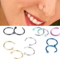 Wholesale Red Nose Stud - Nose Rings Body Piercing Jewelry Jewelry Stainless Steel Nose Open Hoop Ring Earring Body Piercing Studs Fake Nose Ring Non Piercing Rings