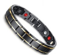 Wholesale Magnetic Therapy Bangles - Fashion Energy Bracelet Bangle Men Titanium Steel Bio Magnetic Germanium Therapy Radiation Fatigue Health Bracelets Black&Gold Free Shipping
