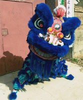 Wholesale Orange Lion Costume - New handmade adult purple Lion Dance mascot Costume made of pure wool Southern Lion Adult size chinese Folk costume