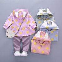 Wholesale Packet Clothes - New Baby Girls Clothing Sets 2017 Autumn Toddler Clothes Fall Cotton Zipper Coat+Pants+Gift Packet Children Leisure Sport Suit Set C1924