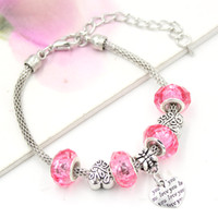 Wholesale I Love Pink Set - New Arrival Wholesale Jewelry Bracelet Pink European Bead I Love You Heart Charm bracelets for women Valentine Day Gift Jewelry Bracelet