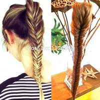 Wholesale Tail Hair Braid - Wholesale-New Styling Clip On Synthetic Fishtail Plait Ponytail Long FishTail Braiding Hair Extensions Braided Pony Tail with Drawstring