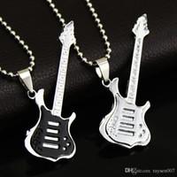 Wholesale Guitar Fans - Fashion 4 Colors Cool Guitar Pendant Necklace Titanium steel Music Guitar Necklace Fine Jewelry For music fans Wholesale