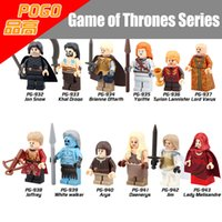 Wholesale Snow Blocks - 24pcs Mix Order Game of Thrones Minifig Jon Snow Tyrion Lannister Daenerys Targaryen Arya Stark Mini Building Blocks Figures Toy