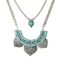 Wholesale Blue Turquoise Statement Necklace - Ethnic Style Maxi Necklace Antique Silver Color Multilayer Chain with Blue Stone Collar Statement Necklace for Women