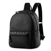Wholesale Vintage Rattan Bags - Wholesale- Gothic women leather backpack rattan feminine school bags for teenagers rucksack Leisure knapsack black backpacks travel 3S4154