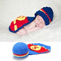 Wholesale Newborn Crochet Hats Sets - Crochet Set Photography Props Design Baby Newborn Photo Props Knitted Baby Costume Crochet Baby Hat Set BP040