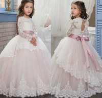 Wholesale T Length Puffy Dress - Scoop Lace Long Sleeves Flower Girl Dresses 2017 Light Pink Tulle Puffy Ball Gowns Kids Pageant Prom Dresses
