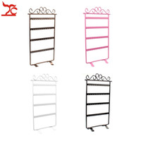 Moda Metal 48Hole Brincos Jóias Display Wall Frame Rack Holder 4 Layer Iron Pintado Jewelry Showcase Stand 4 Cor disponível