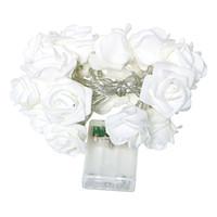 Wholesale Rose Fairy String Lights - Wholesale- 20 LED Rose Flower Light Flasher Light String Novelty Home Wedding Garden Valentine's Day Decorative Lighting Fairy Light