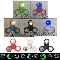 LED Light Up Hand Spinners Fidget Spinner Com Switch Triangle Finger Spinning Top Colorido Decompression Fingers Tip Tops Brinquedos