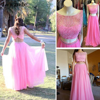 Illusion Sheer Beaded Two Piece Sexy Prom Homecoming Dress Long Cap Sleeve A Line 2pc Princess Pageant Вечернее платье Недорогая Lewande 50038