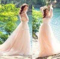 Wholesale Peach Sweetheart Neckline - romantic peach long sleeves wedding dresses 2017 papilio bridal off the shoulder sweetheart neckline chapel train
