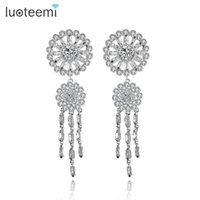 Wholesale Strip Brass - LUOTEEMI Luxury Dangles Long Drop Earrings for Women Wedding Brincos Round and Strip Zircon Party Jewelry Gift Rhodium Plated Wholesale
