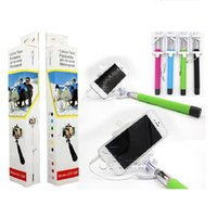 Wholesale wired monopod for sale - Selfie Stick Mini Portable Wired Selfie Stick Foldable Monopod Built In Bluetooth Remote Control For Iphone Samsung S8 S9 With Box