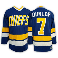 Wholesale Dunlop Blue - Cheap Charlestown CHIEFS Mens 7 Reggie DUNLOP Hanson brothers Charlestown CHIEFICE Hockey Jersey Embroidery,Cheap Throwback CCM White Blue