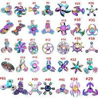 Wholesale Type Spinners - 60 types Fidget spinner toys Rainbow Tri-Fidget Metal Hand Colorful EDC Gyro Toys HandSpinner spinners finger top spinning Toy in retail box