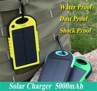 Wholesale Solar Universal Charger Mp3 - Universal 5000mAh Solar Charger Waterproof Solar Panel Battery Chargers for Smart Phone PAD Tablets Camera Mobile Power Bank Dual USB 1pcs