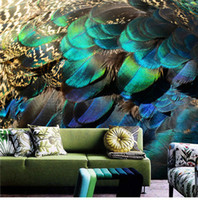 Wholesale art paintings peacocks for sale - Group buy Art english d wallpapers peacock feathers bedroom hand painted creative venture TV background wall personalized custom wallpaper murals