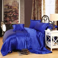 Wholesale Double Comforter Sets - Wholesale- sapphire color Silk bedding set soft bedcover solid color comforter cover sets for single or double bed Fast shipping
