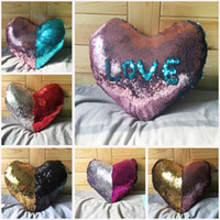 Wholesale New Hotel Knitting - 2017 New Pillow Cases Love Shape Magic Mermaid Discolor Sequins DIY Pillow Case Heart Shape Lover Pillowcases 5 Colors Free Shipping