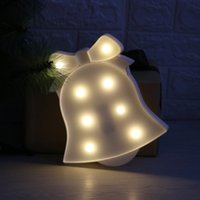 White Christmas Bell LED Night Light Plastic Marquee Light para crianças Bebê Cute Indoor Decorative Night Lamp
