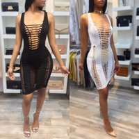 Wholesale white bandage tights - Woman Sexy Nightclub Bodycon Dress 2017 Summer Woman Fashion Solid Color Tight O Neck Sleeveless Hollow Bandage Pencil Dress