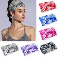Wholesale Yellow Blue Fascinator - Tie Dye Printing Wide Cotton Stretch Sports Women Headbands Headpiece Headwrap Turban Headwear Bandage Hair Bands Bandana Fascinator