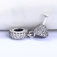 Wholesale Wine Glass Silver Jewelry - Real 925 Sterling Silver Not Plated Wine Glass Pendant Charm European Charms Beads Fit Pandora Chain Bracelet DIY Jewelry