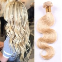 Wholesale Xbl Hair - Passion Remy Human Hair Brazilian Body Wave Remy Hair Weft 613 Blonde XBL Hair 10inch To 26inch Weave Bundles