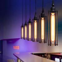 edison cage achat en gros de-Pays d'Amérique Style Pendentif Lumières Rétro Loft Fer Cages Pendentif Lampe Décoration de La Maison Edison Vintage Suspension Lampe Éclairage Européen