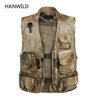 Wholesale Outdoor Camouflage Vest - Wholesale- Hanwild Tactical Mesh Men Vest Breathable Multi Pockets Camouflage Summer Outdoors Waistcoat Sleeveless Jacket Hunt Vest Size 3X