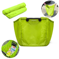 Wholesale Nylon Grocery Totes - Wholesale- 100pcs lot Reusable Large Trolley Clip-To-Cart Grocery Shopping Bags Portable Nylon Bag Foldable Tote Handbags