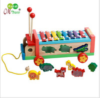 Wholesale Baby Instruments Xylophone - Wooden Xylophone Animal Trolley 8-Note Music Instrument Hand Knocking Piano Children's Educational Tool Musical Toys Baby Gift