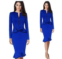 Wholesale Ladies Mermaid Ruffle Dress - New Long Sleeve Fashion Women Mermaid Skirt Dress Blue Ruffles Party Ladies Knee Length Bodycon Dress Skirts Women's Slim Clothing