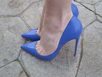 foto de damas gratis al por mayor-Envío gratis Moda mujer zapatos sexy lady Blue kid cuero punta del dedo del pie tacones delgados zapatos de tacón botas botas bombas foto real boda de la novia zapatos