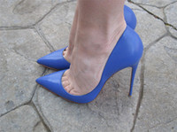 Wholesale Leather Pumps Kids - Free shipping Fashion Women shoes sexy lady Blue kid leather point toe high heels thin heel shoes boots pumps real photo bride wedding shoes