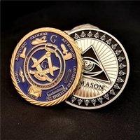 Wholesale Bronze Souvenirs - 2pcs Set Masonic Mason Gold and Silver Plated Challenge Coin