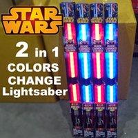 Wholesale Kids Led Toys Wholesaler - Star Wars FX lightsaber Darth Vader & Anakin Skywalker 2 color change lightsaber LED flash swords kids toys blue&red sound wholesale
