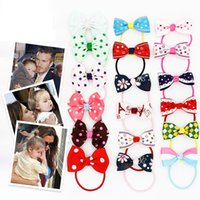 Wholesale Baby Hair Pony Tails - Wholesale 50pcs lot Fashion Solid Cartoon Cute Bow Baby Girls Elasitc Hairbands Girls Novelty Bowknot Pony Tail Holder