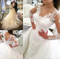 Wholesale Mermaid Cathedral Trumpet Beads Applique - 2017 Luxury Sheer Long Sleeves V-Neck Tulle Appliques Wedding Dresses with Detachable OverSkirts Floor length Bridal Gowns