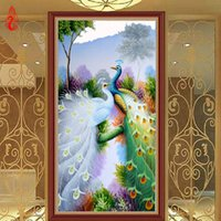 Wholesale peacock canvas painting - YGS-264 DIY 5D Diamond Embroidery Beautiful Peacocks Round Diamond Painting Cross Stitch Kits Diamond Mosaic Home Decoration