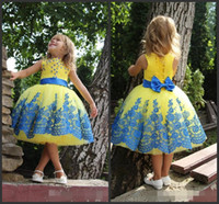 Enfants Robe de soirée Robe de bal Jewel Neck manches Applique Crystal Sparked élégant Sweet Girls Dress Lace Up Retour Custom Made Cheap Prix