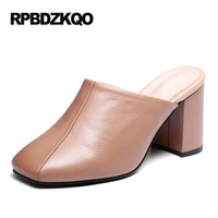 Wholesale Big Toe Slippers - Chunky Black 3 Inch Designer Mules Slipper Big Size Square Toe Vintage Pumps 2017 Casual Shoes Women Nude Classic Sandals
