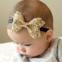 Wholesale Shiny Bow - NEW Infant Baby Girls Big Glitter Shiny Sequin Bow Headbands Knot Toddler Spring Stretchy Hairwrap Children's Princess Hair Accessories XMAS